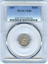 1857 SEATED LIBERTY HALF DIME PCGS VF20