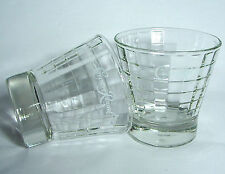 Crown Royal Block Pattern Glasses (Set of 2) Lowball or Old Fashioned Bar Glass!