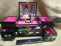 Vintage Japanese Black Lacquer Jewelry Box hand painted mop inlay music bx H-1