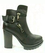 stivaletti neri donna eco pelle anfibi scarpe stivali tronchetto tacco plateau