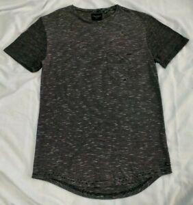 Industrie Mens Short Sleeve TShirt Size M 2 Tone Grey Curved Hem *GC*