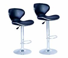 SET of 2 Bar Stools Black PU Leather Modern Hydraulic Swivel Dinning Chair B03