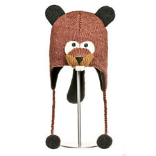 Delux Barkley Beaver Brown KIDS Winter Warm Wool Pilot Hat Knitwits Knitted NWT