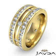 Princess Round Diamond 9mm Men Ring Wedding Eternity Band 18k Yellow Gold 1.75Ct