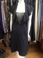 catherine malandrino Black Silk Dress, Sz 8 US (10 Aus) New With Tags, RRP $1150