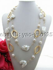 N130613  Charming! 47'' Bead-Nucleated Pearl&30mm Keshi Pearl Necklace
