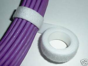 VELCRO STRAP WHITE CABLE TIE HOOK & LOOP 20mm WIDE 1m LENGTHS *GENUINE VELCRO*