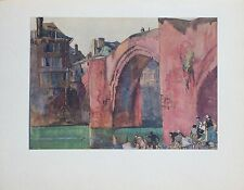 "Frank Brangwyn Watercolor ""The Bridge, Espalion"" 1928 Color Photogravure"