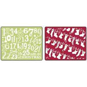 *Sizzix Textured Impressions Embossing Folders Christmas Stockings Set 2  656976