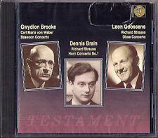 Dennis BRAIN: STRAUSS Horn Oboe Concerto WEBER Bassoon CD Leon Goossens Galliera