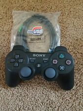 Sony PlayStation 3 Wireless PS3 Controller DualShock3 Gamepad Black with cord!