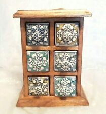 Hand painted teal blue ceramic 6 Drawer Chest, Mango Wood, from India 25cm-NEW