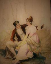 AQUARELLE-COUPLE-ROMANTIQUE-ROMANTISME-JARDIN-BANC-RESTAURATION-