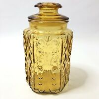 L E Smith 9.5 Inch Honey Amber Glass Canister with Lid Atterbury Scroll Vintage