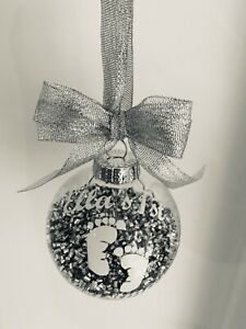 Personalised Baby 1st Christmas Bauble Any Name Silver Ornament