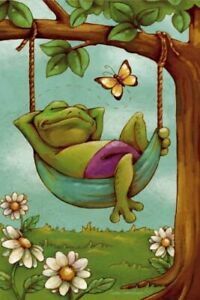 NEW LARGE EVERGREEN FROG FLAG DAY DREAMERS FROG IN HAMMOCK SO CUTE 29 X 43