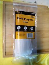 "50 Pcs 7.5"" Self-Locking Nylon Plastic Cable Ties Wrap Zip Strap white"