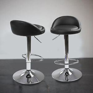 2* Bar Stool Leather Swivel Gas Lift Foot Rest Chair Kitchen Breakfast Seat UK