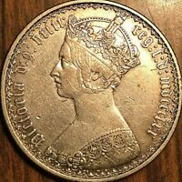 1870 GREAT BRITAIN VICTORIA GOTHIC SILVER FLORIN COIN - Excellent example!