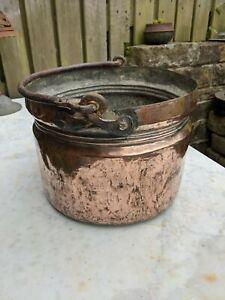 Vintage Copper Planter Tub Plant Pot hanging basket log fire bucket