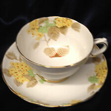 GROSVENOR CHINA COPELANDS A243 FOOTED CUP & SAUCER 8 OZ YELLOW FLOWERS
