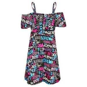 Girls Skater Dress Kids Cool Graffiti Summer Party Off Shoulder Dresses 7-13 Yr