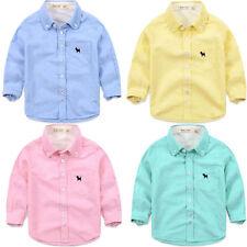 100% Baumwolle Jungen-T-Shirts,-Polos & -Hemden mit Langarm-Ärmelart ohne Muster für Freizeit
