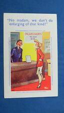 Risque Comic Postcard 1950s Boobs Flat Chest Photography Shop ENLARGEMENTS