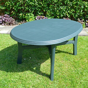 "QUALITY RESIN GARDEN TABLE, ""TERAMO"" 165 x 110, DARK GREEN, BRAND NEW"