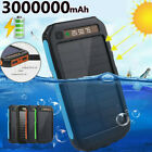 3000000mAh Solar Charger LCD Power Bank 2USB Waterproof External Battery Pack