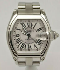 Cartier Roadster XL 2722 GMT Automatic Stainless Silver Roman Dial 48mm Watch