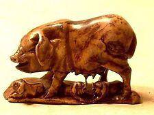 Vintage Japanese Carved Soapstone Pig & Piglets Figurine
