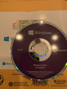 WINDOWS 10 PROFESSIONAL PRO 64 BIT DVD W/ PRODUCT KEY SEALED GENUINE