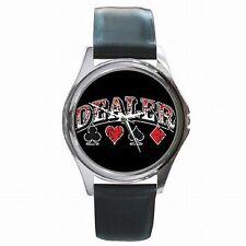 Card Dealer Poker BlackJack Las Vegas Leather Watch New!