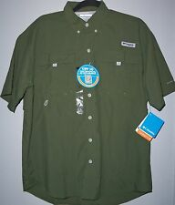 NWT Columbia PFG Omni Shade Men's size S Army Green Short Sleeve Fishing Shirt