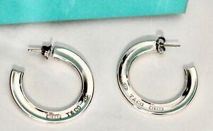 Rare & Authentic TIFFANY & CO Stg Silver Lge 1837 Hoop Earrings Orig Box Mint