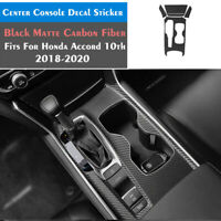 Matte Black Carbon Fiber Center Console Wrap Vinyl Sticker For Honda Accord 10th