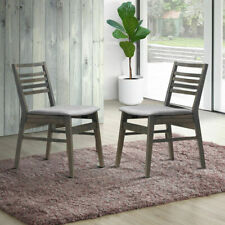 Set of 2 Dining Side Chairs Armless Fabric Upholstered Seat Wooden Leg Furniture
