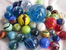 CLASSIC MARBLES boulder shooter red blue yellow orange glass swirl MEGA mint lot