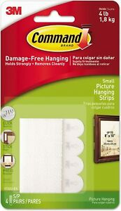 """Command Picture Hanging Strips, Removable, 0.63"""" x 2.13"""", White, 4 Pairs/Pack"""