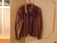 Authentic mink fur jacket brown color size equivalent to L