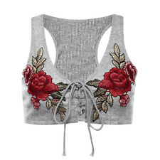 Women Sexy-Sleeveless Crop Tops V Neck Embroidered Lady Slim Tank Tops Tee Shirt