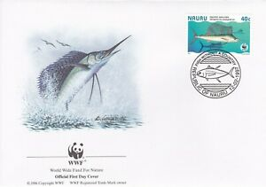 WWF117) WWF Panda, FDC, Fish, Nauru, 12 Feb 1997, set of 4