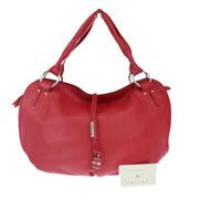 Auth Celine Bittersweet Leather Shoulder Bag Red 04GA735