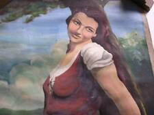 Vintage Oil Painting of a Sheperdess by Art E Bloomquist of Ashland Wisconsin