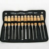 12 Pieces Woodworking DIY Carving Chisel Handle Tools Set Wooden Professional