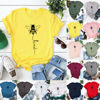 Womens Ladies Short Sleeve Casual Sweatshirt Bee Shirt Tee Blouse Tops UK 6-22