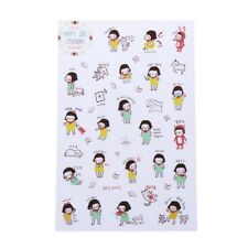 6 Sheets Cartoon Korean Girl Planner Diary Stickers Scrapbook Calendar Decor