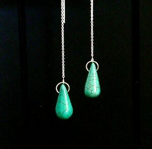 """IAJ"" TURQUOISE TEARDROP, STERLING SILVER Ear Threads Threader Earrings"