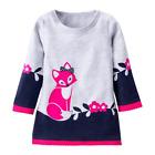 NEW Girls Fox Gray Long Sleeve Sweatshirt Dress 2T 3T 4T 5T 6